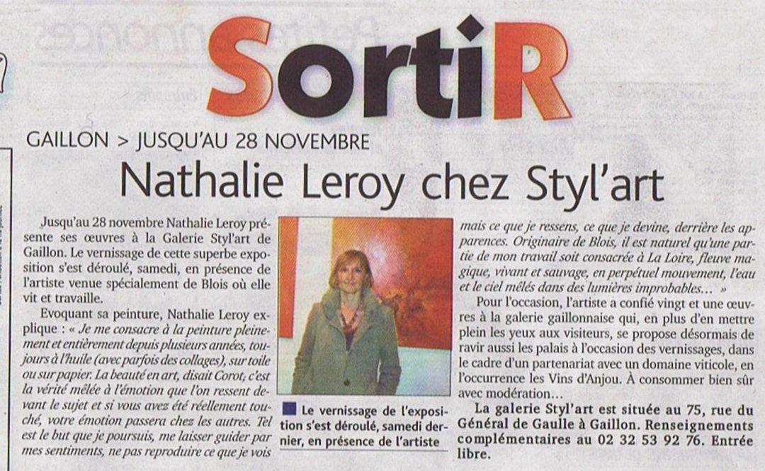 exposition en normandie Nathalie Leroy expose à la galerie Styl'art cadre