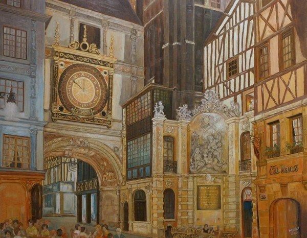 le gros horloge de Rouen huile sur panneau Jean Claude Muller